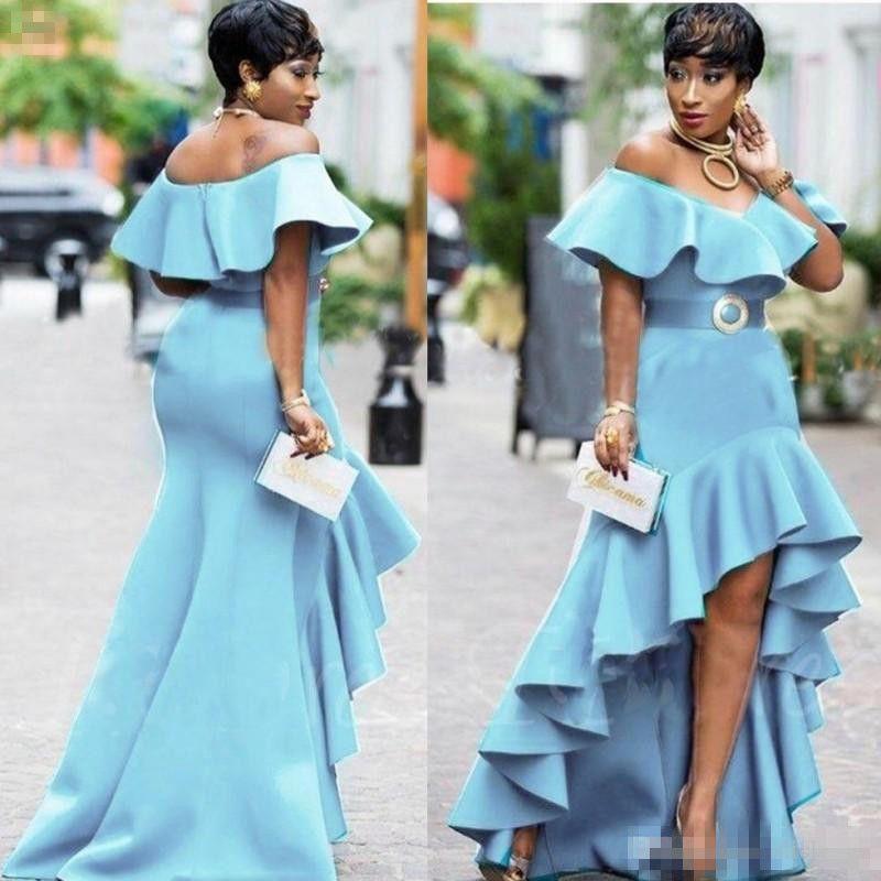 Abiti da ballo Blue High Basso Ruffles Sexy fuori dalla spalla Mermaid Dress da sera Ribbon Satin Party Gown Plus Size