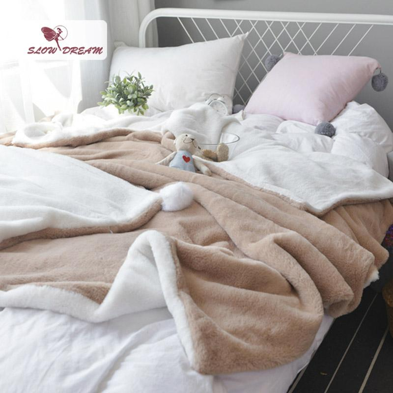 Slowdream Camel And White Soft Elegant Blanket Comfortable Throws Coral Fleece Bedspread For Sofa/Bed/Home 1pcs Blanket 3 Size