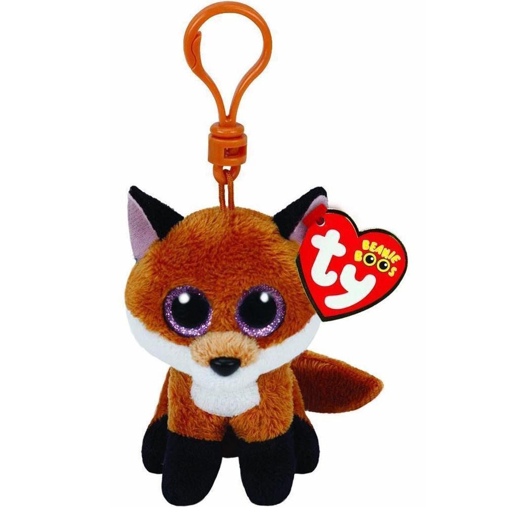 """Ty Beanie Boos Slick O Fox pequeno pingente Plush Toy Clipe Stuffed Coleção macia boneca com Tag 4"""" 10 centímetros"""