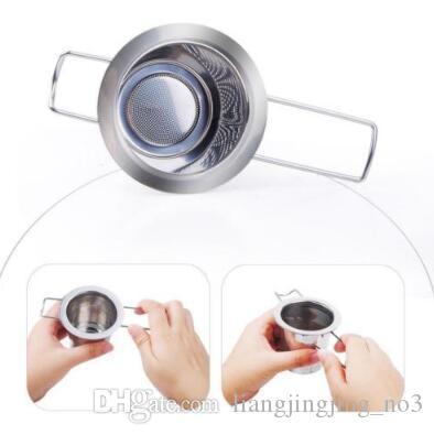 50pcs Aço inoxidável reutilizável coador de chá Infuser filtro cesto Folding Tea Infuser cesto coador de chá Para Bule CCA9198