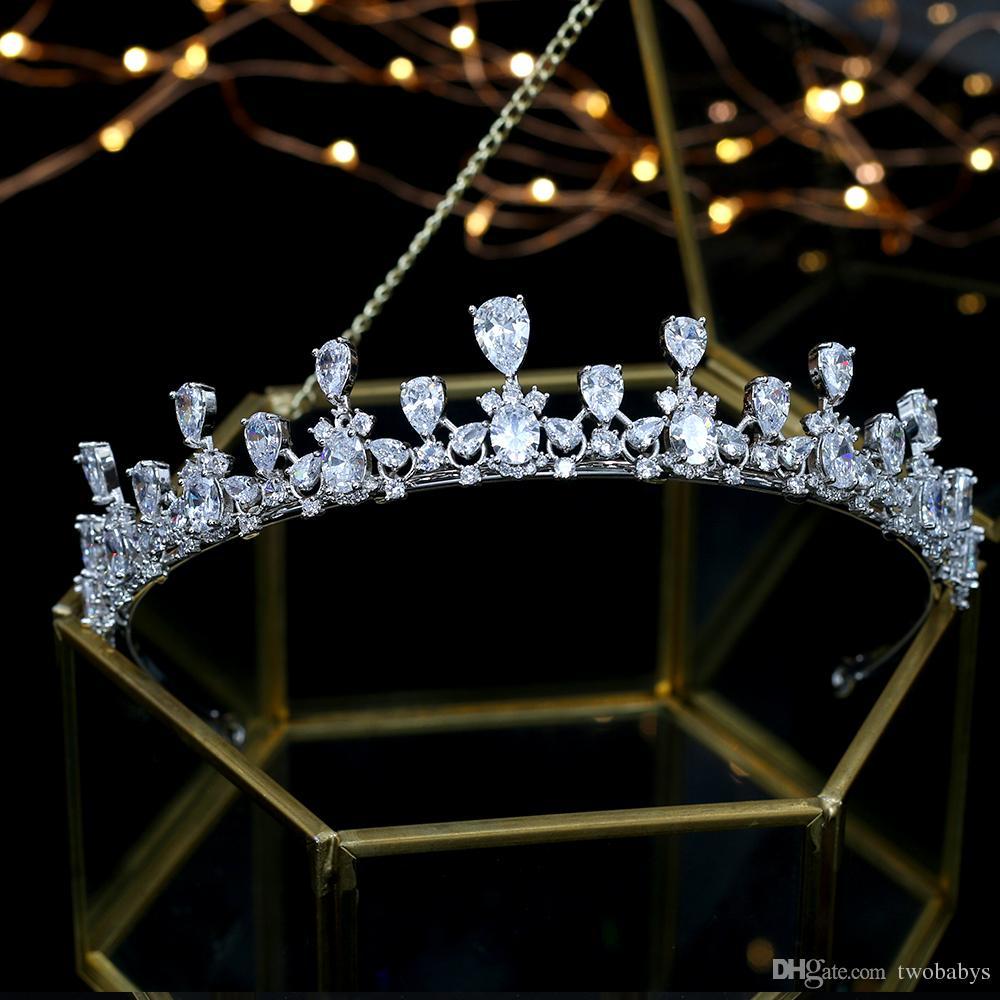 Heißer Verkauf Braut Zirkon Kronen Hochzeit Tiara Haarschmuck Diadema Tiara De Noiva Corona Nupcial