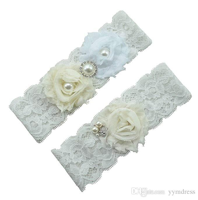 Bridal Garters Bridal Wedding Garters 2 Pieces set Ivory Rhinestones Pearls Prom Garter Crystals In Stock Cheap Plus Size