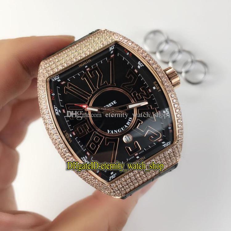 Alta Qualidade New Vanguard V45 SC DT Data Preto Dial Mecânico Automático Mens Watch Rose Gold Diamante Bisel Pulseira de Couro Gents Relógios 01