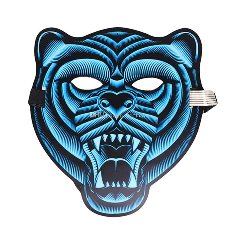 Tiger LED Music Mask Voice Control EL Mask Cold Light Halloween Xmas Cosplay Light Up Festival Dance Parties Costume