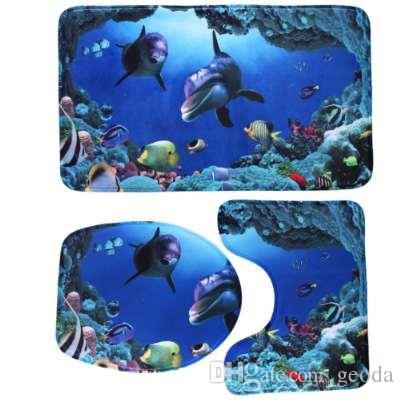 3 PCS Tapete de Banho Set Toalete Padrão Antiderrapante Piso de Banho Colchão Tapete Coral Velo Pedestal Do Banheiro Tapete Higiênico Tapete Do Banheiro