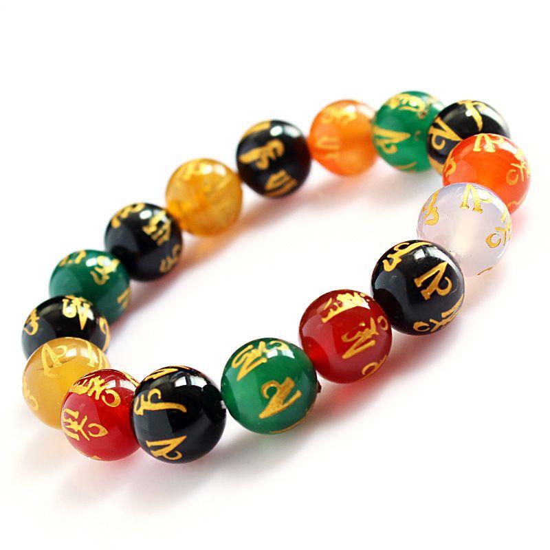 3Win Coloré Doré Mantra Perles Naturelles Bracelet Bouddhiste Bijoux Chapelet Bracelets pour Cadeaux Femmes / Hommes