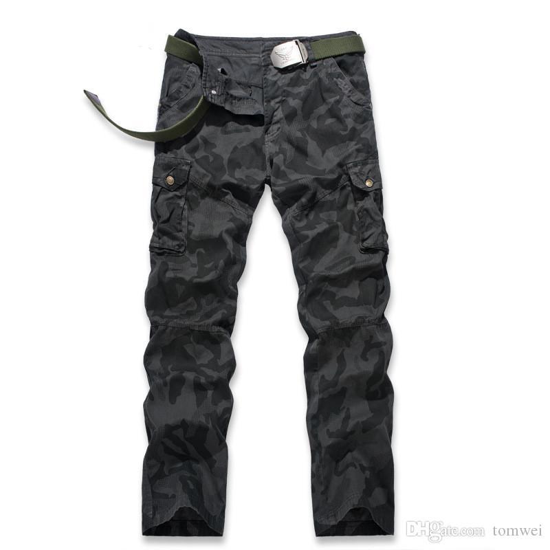 Erkek Kamuflaj Pantolon Kargo Pantolon Rahat Ter Pantolon İlkbahar Sonbahar Giysileri Artı Boyutu Ordu Yeşil Yüksek Kalite Marka