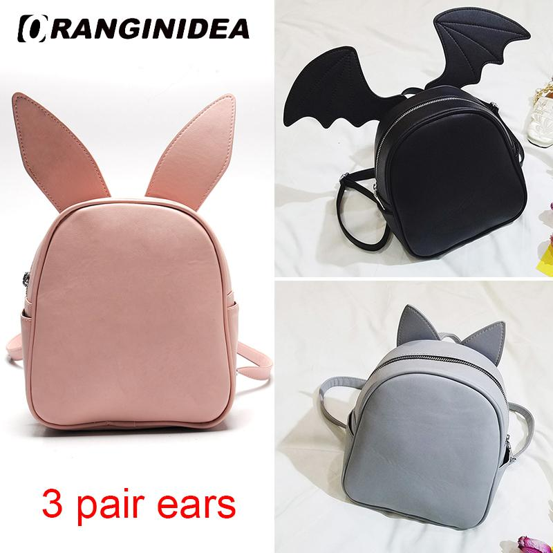 Sırt çantası Kadın Yerine Bat Kanat Kedi Kulaklar Genç Kız için Sevimli Sırt Çantası Okul Çantaları Deri Mini Sırt Omuz Çantası Bagpack Y18110202