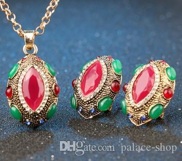 haute qualité à faible prix merveilleux ensemble collier de mariage de cristal de diamant boucles d'oreilles (15) fjkkhj