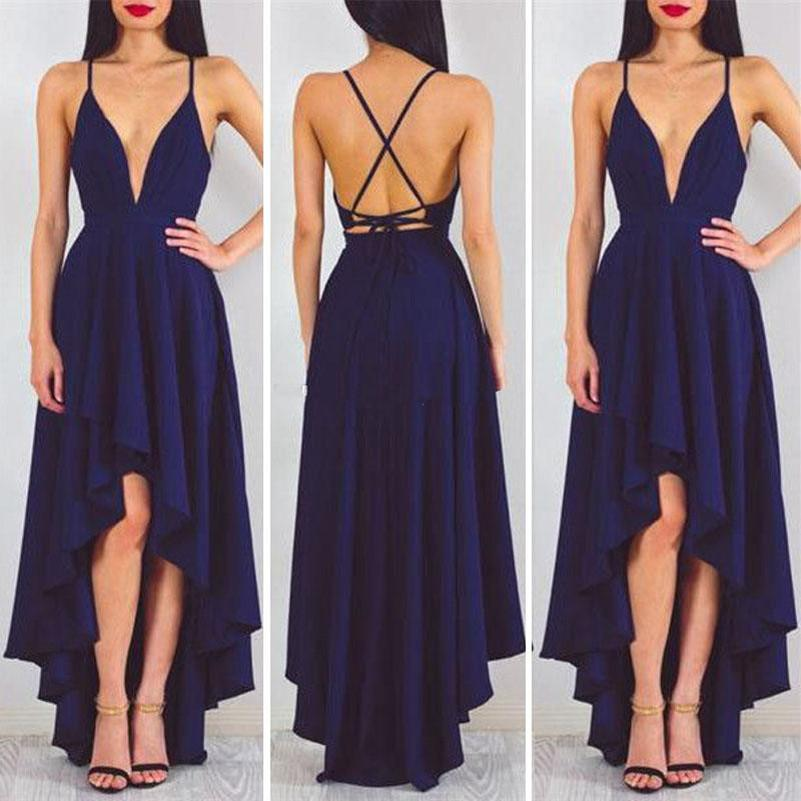 New Michael Costello Prom Dresses V Neck Spaghetti Straps Satin Backless High Low Cocktail Party Dresses Cheap Navy Blue Evening Dresses
