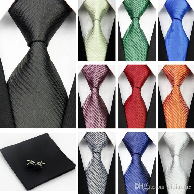 Accesorios Corbatas para hombres Patrón de rayas sólido Paquetes de corbata de seda de negocios Pañuelos de pañuelo Pañuelo Corbata de lazo negro rojo Gravatas
