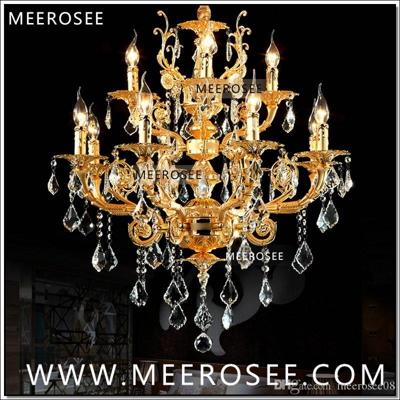 Modern Luxury 12 Arms Crystal Chandelier Lamp Gold Suspension Lustre Crystal Light for Foyer Lobby MD8857 L8+4 D750mm H750mm