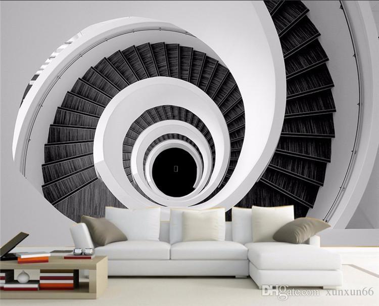 Modern criativo 3d personalizado foto mural papel de parede preto e branco redemoinho escadaria simples elegante papel de parede sala de estar pano de fundo