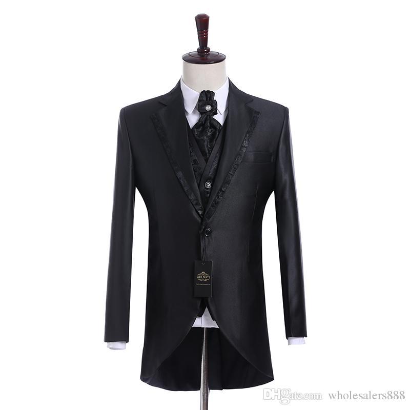 Immagine reale Groomsmen Shiny Nero Smoking dello sposo Notch Risvolto Uomini abiti Side Vent Wedding / Prom. Best Man Blazer (Jacket + Pants + Vest + Tie) K944