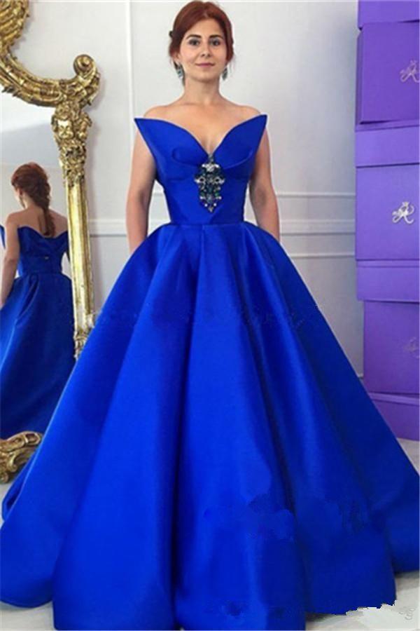 Мода Royal Blue Ball Clange Proмитеблионные платья с карманным сексуальным возлюбленным Креплы из бисером кружев на повязку Длина повязки Формальные вечерние платья