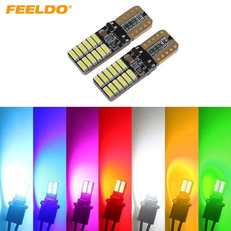 FEELDO 40PCS T10 194 168 W5W Nessun errore 4014 24 LED Canbus Car Side Lamp Wedge Lampadina 7 colori # 2733