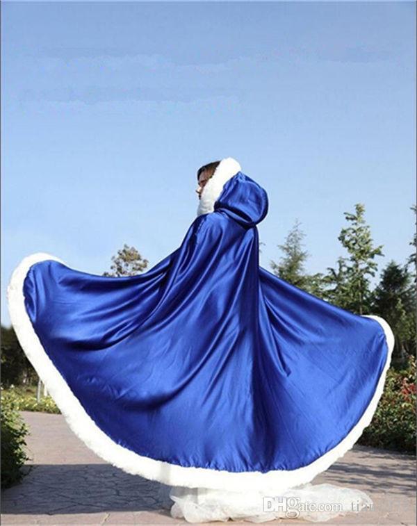 플러스 사이즈 Winter Bridal Shawls Jackets Cape Faux 모피 크리스마스 망토 후드 퍼펙트 웨딩 랩 Abaya 웨딩 드레스