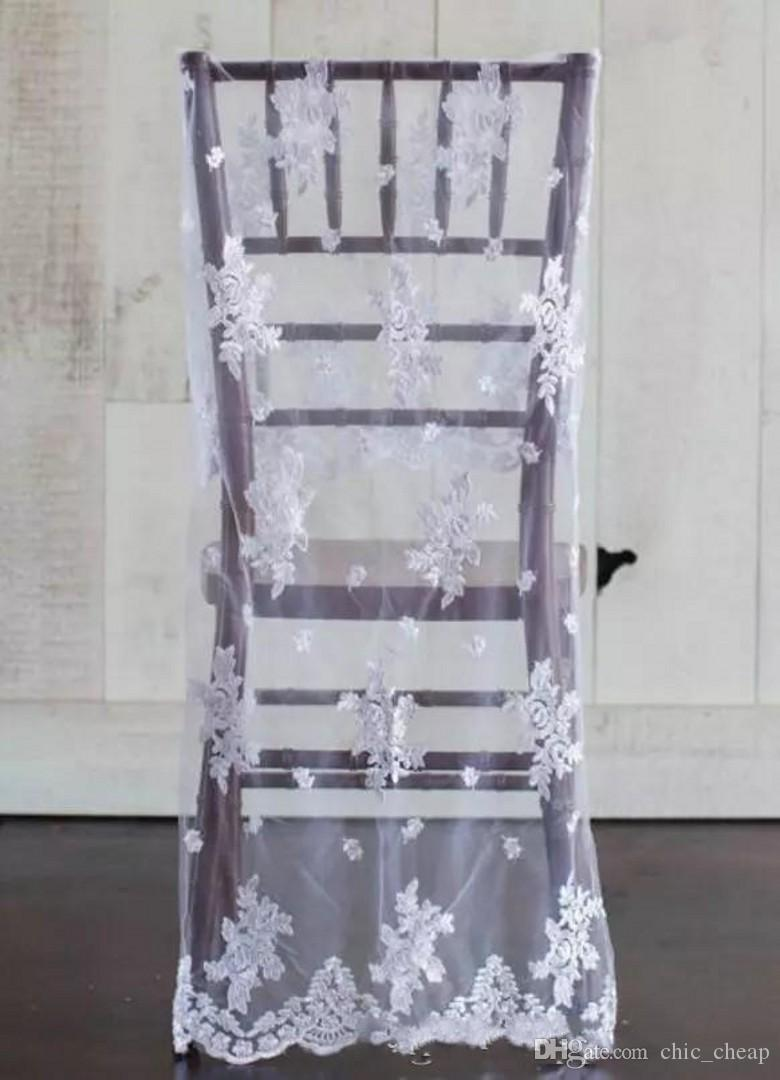 2018 Custom Made Chair Covers Vintage Tulle bianco pizzo romantico telai della sedia Bella moda decorazioni di nozze C01