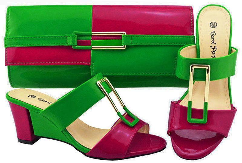 Top venda verde e fúcsia mulheres bombas e saco conjunto para os sapatos africanos jogo bolsa combinada para o vestido JZC007, calcanhar 7 CM