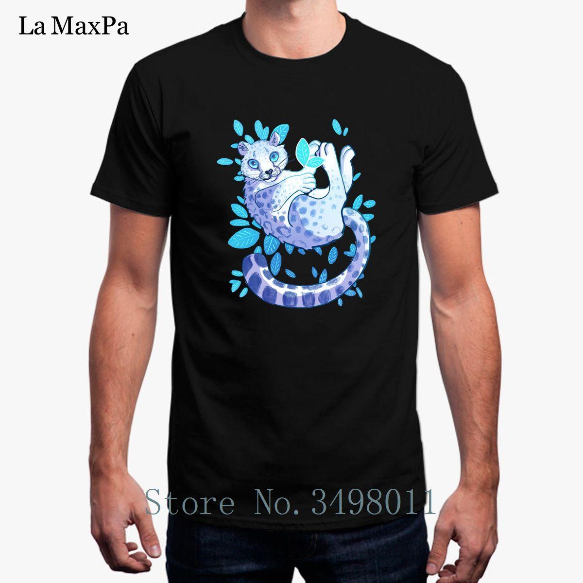 Camiseta de leopardo de nieve de alta calidad de los hombres del traje de la camiseta 100% algodón camiseta de los hombres frescos de manga corta más tapas del diseño del tamaño