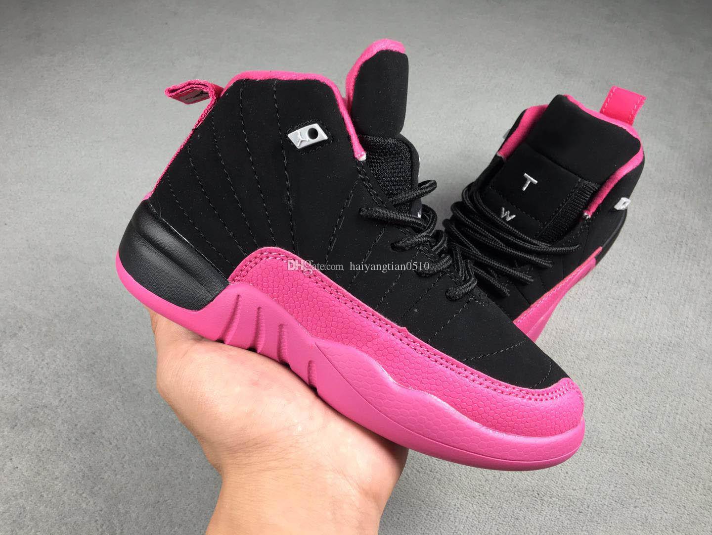 Compre Nike Air Jordan Aj12 Caliente Bebé Niños 12 12s Zapatillas De Baloncesto Niños J12 Colegio Marino Gris Oscuro Gripe Azul Rojo Entrenadores