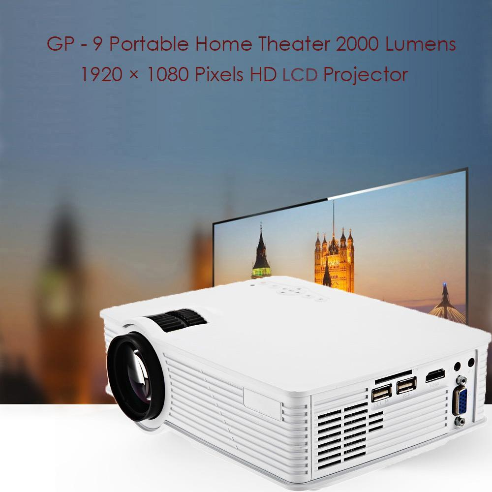 Mini Projector GP-9 Portable LED Projector 2000 Lumens Support HD 1080P Multimedia Projector for Video Movie Games Party Home Entertainment