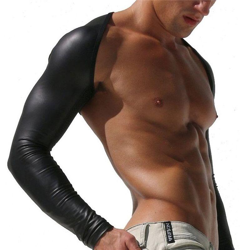 Mens Sexy Undershirt falso de couro oco braço mangas encolher de ombros masculino falso couro oco braço mangas encolher de ombros confortável roupa interior