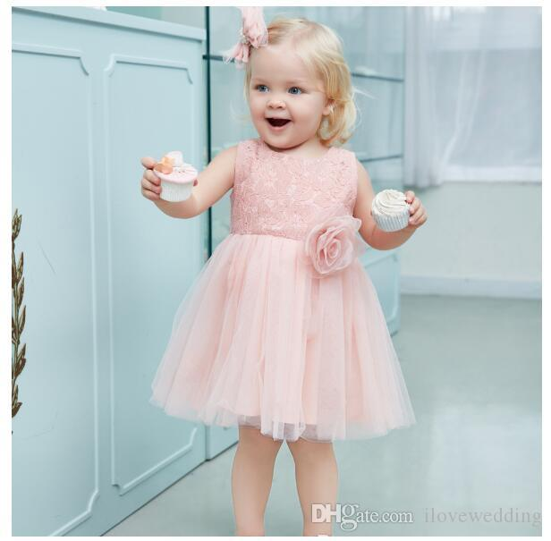 2018 handmade off ombro flor vestidos de meninas na altura do joelho arco voltar barato pageant vestido de aniversário vestidos para o miúdo formal wear vestidos vestidos