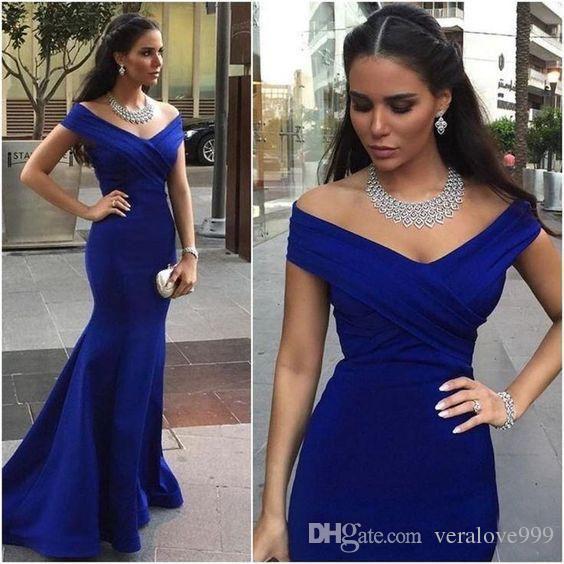 En stock azul real del hombro largo vestido de dama de la sirena 2020 Árabe formal de la boda de visitantes Vestidos vestido de fiesta barato