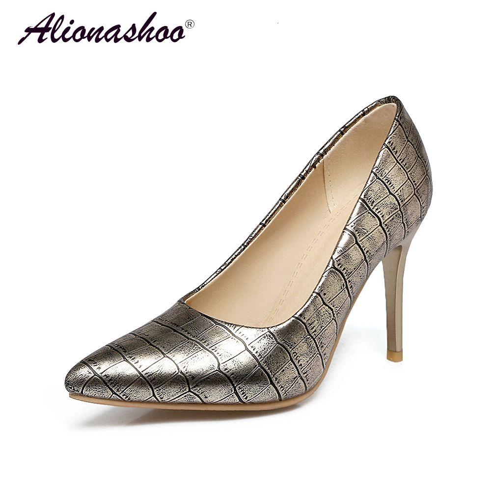 Plus Size 34-48 Fashion Shallow Novelty Scarpe da donna Super Sottile Tacco alto Confortevole pietra qualità traspirante PU donne scarpe
