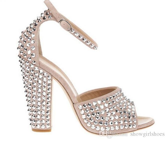Silver Studded Rivets Block Heels Women Sandals Beige Ankle Buckle Strap Women Pumps Peep Toe High Heels Women Shoes