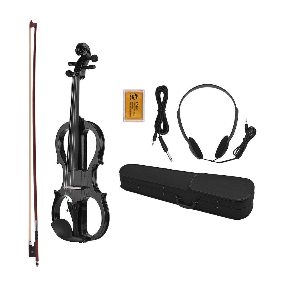 전체 크기 4/4 Basswood Electric Violin 바이올린 헤드폰 연결 케이블이있는 Ebonized 피팅 Rosin Carry Case
