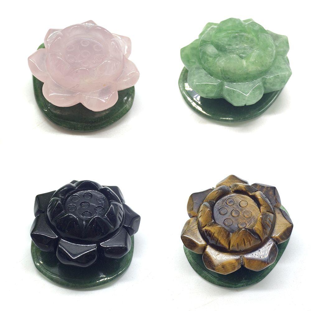 Ojo de tigre natural Obsidiana Rose Quartz Fluorita Lotus Piedras de cristal Flor Aventurine Leaf Buddhism Monk Charms Envío de la gota