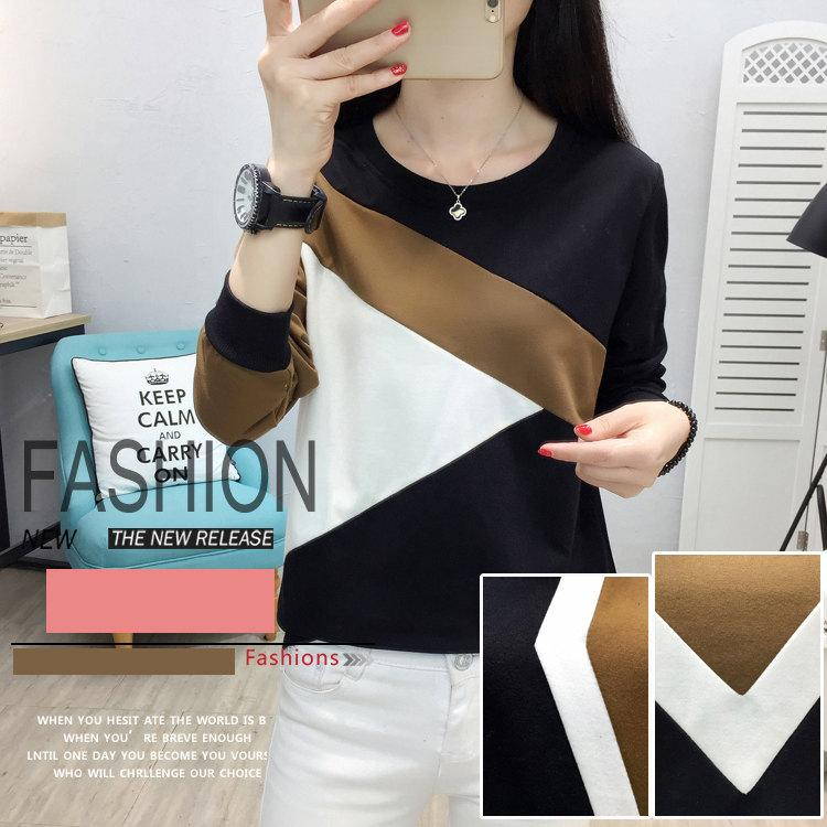 Plus Size Tshirt Women Fashion Long Sleeve T-shirt Women Tops Casual Camiseta femme Patchwork Tshirts Women Poleras Mujer 2019 (2)