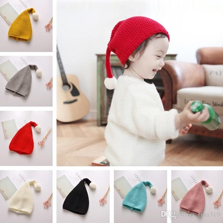 Children Christmas hat lovely candy knitted ball warm autumn winter hat, pure color elf long tail hats Skull Caps C0185