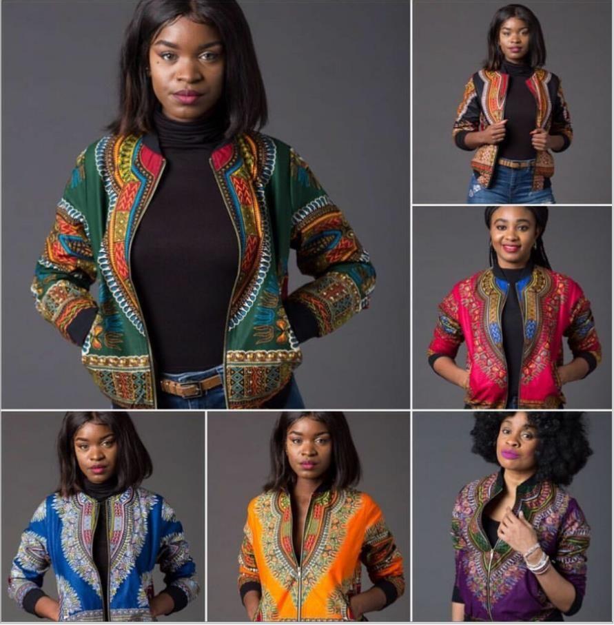 2017 Sexy Indie Folk Женская Куртка Пальто Dashiki Африканский Печатных Бомбардировщик Куртка Осень Зима Новые Основные Пиджаки Африка Одежда