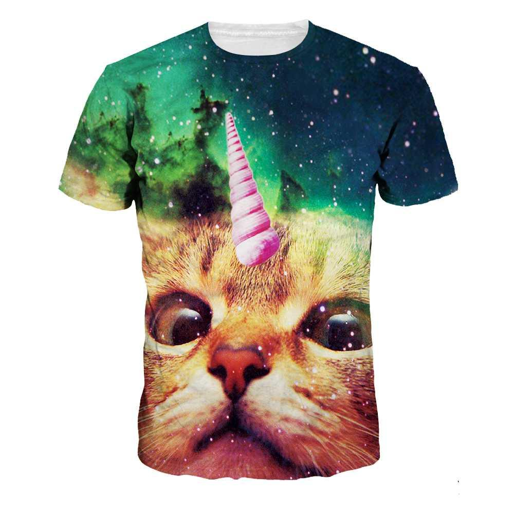 Women Casual T-Shirt 3D Print Brown Cat Fashion O-Neck T-Shirts 2018 Summer Loose Starry Sky Short Sleeve For Lover NA198