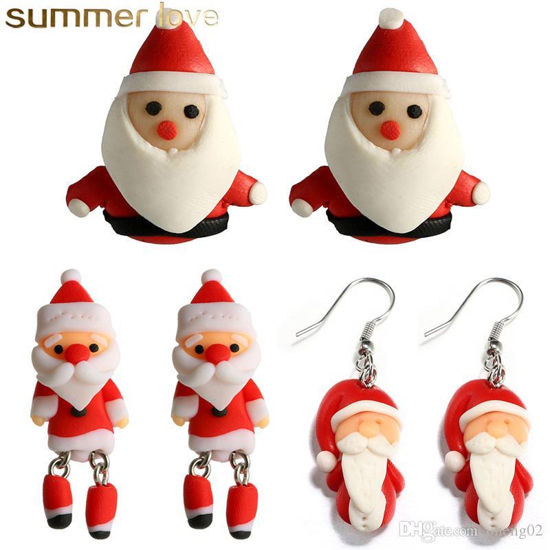 Beautiful Kids Earring Handmade Polymer Clay Soft Santa Claus Earrings for Women Fashion Christmas Piercing Ear Studs Jewelry Gift