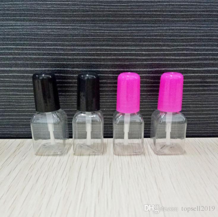 5g mini lindo claro plástico vacío cuadrado botella de uñas pulidas con tapa de plástico botella de clavo para niños SN849