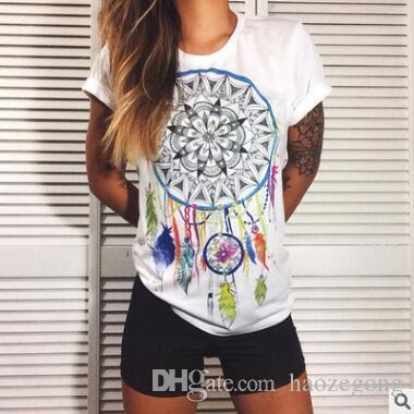 Mode Été Kawaii Mignon t-shirt Femmes Harajuku Haute Fleur Imprimer Drôle T-shirts À Manches Courtes Plus La Taille T-shirt Femmes