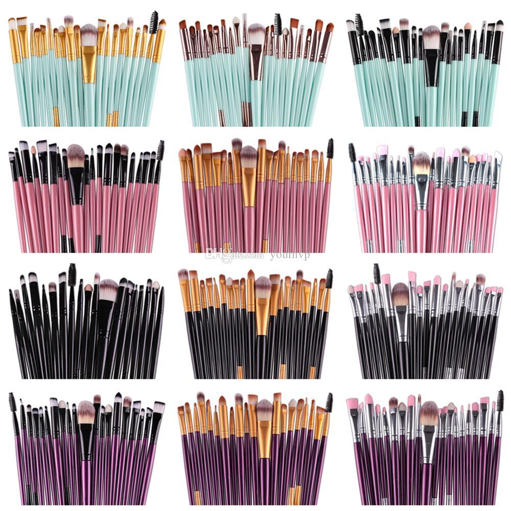 20pcs Pinceaux Kits Ombre à paupières de teint en poudre Sourcils Cils Pinceau à lèvres cosmétiques Eye outil Pinceau 20pcs / Set J1546