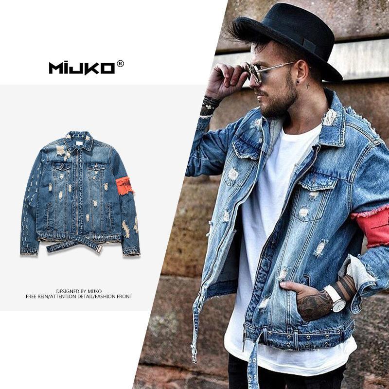 ملابس رجالية Mijko في خريف / شتاء من منتجات جديدة ثقب البالية سترة المرقعة الرجال حمالة الدنيم الاتجاه