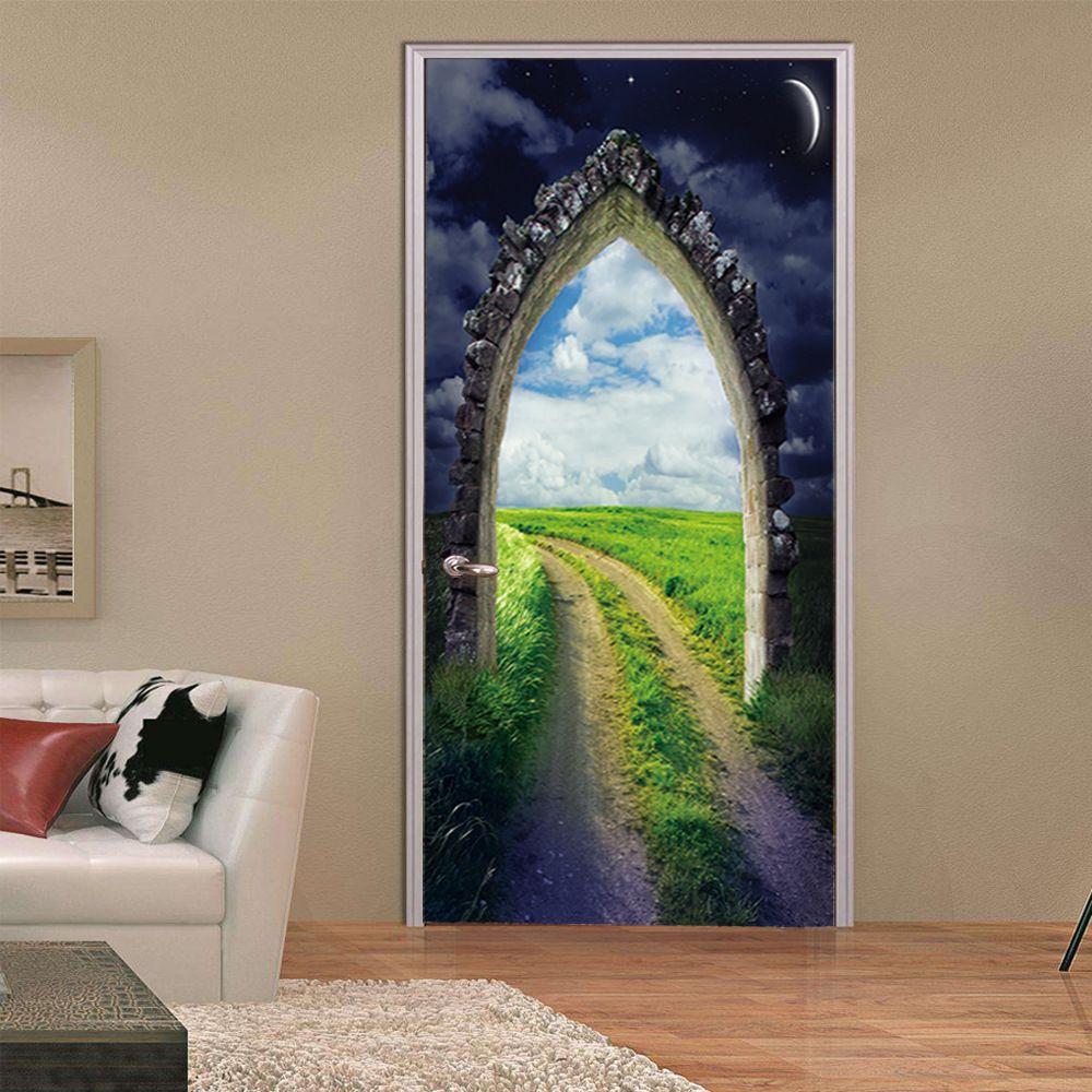3D Self Adhesive Arched Door Murals Wall Sticker Bedroom Wallpaper Home Decor