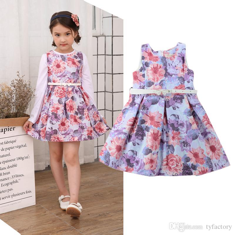 High Quality Floral Dress Kid Girl Clothes Sleevless Dresses Two Colors With Belt Wedding Party Layered Vestidos Girls Flower Dress Boutique