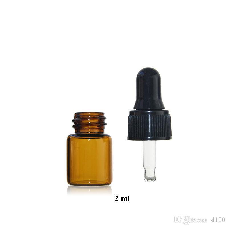 2ML Vide Rechargeable Verre Ambre Bouteilles D'huile Essentielle Parfum Cosmétique Liquide Lotion Échantillon Conteneurs De Stockage Flacons Bocaux avec Eye Dropper