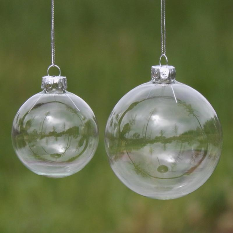 100pcs wholesale 8cm 10cm DIY Paintable Shatterproof Clear Christmas Ball Silver Cap Plastic Ornament Christmas Tree Decorations