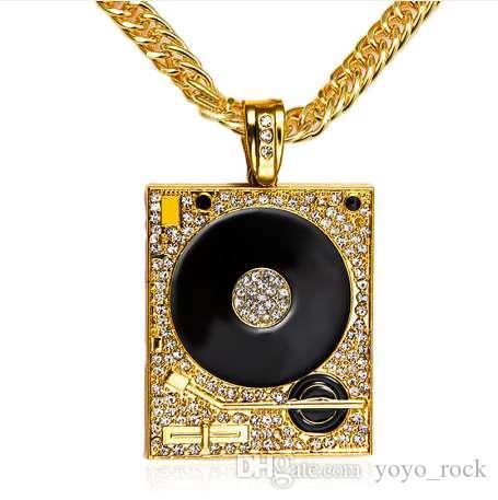 DJ Phonograph 빅 펜던트 목걸이 남성 쥬얼리 힙합 체인 골드 실버 컬러 뮤직 힙합 락 랩 목걸이 남성 쥬얼리