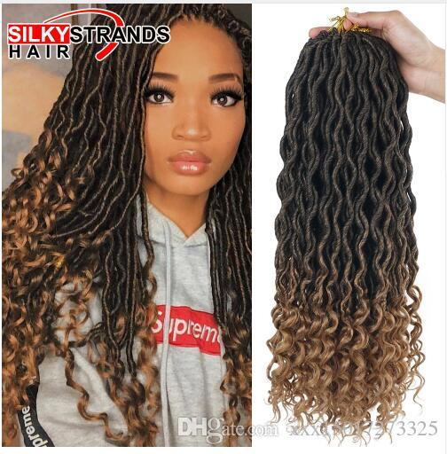 Silky Strands 2X Bohemian Mambo Goddess Locs Crochet Hair Extensions Crochet Braids Ombre Kanekalon Braiding Hair Synthetic Bulk