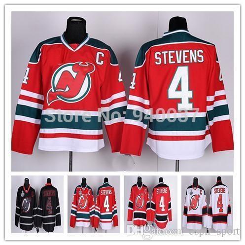 2015 Envío Gratis Descuento Auténtico New Jersey Devils Hockey Sobre Hielo Jerseys # 4 Scott Stevens Jersey Venta al por mayor Barato orden mezclada