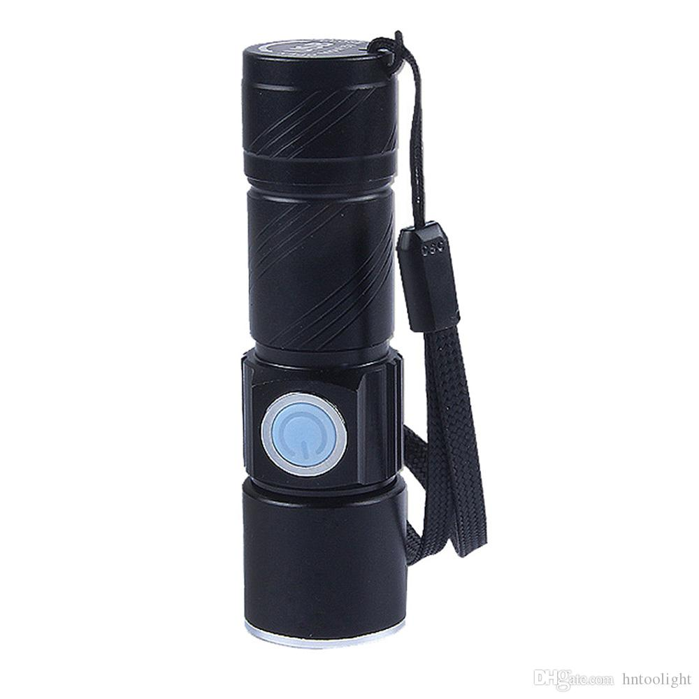 Super Bright Rechargeable Q5 LED Tactical USB Flashlight Torch Zoom Adjustable Portable Lighting For Bike Hiding Camping